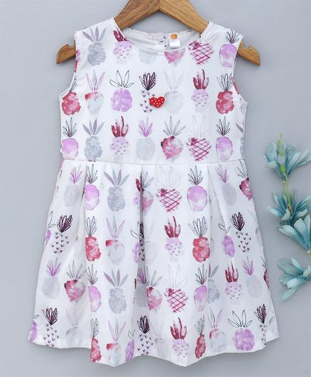 Dew Drops Sleeveless Pleated Frock Fruit Print - White Pink