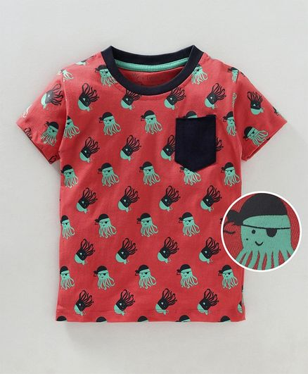 Kid Studio Octopus Print Half Sleeves T-Shirt - Red