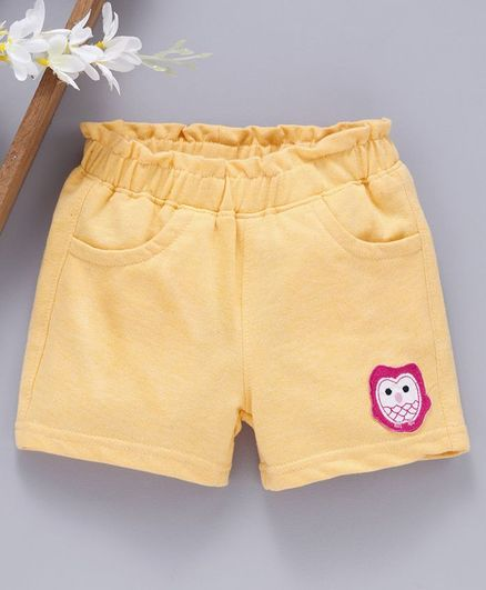 Babyhug Mid Thigh Length Solid Shorts Animal Patch - Yellow
