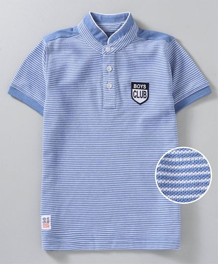Olio Kids Half Sleeves Striped Tee - Blue