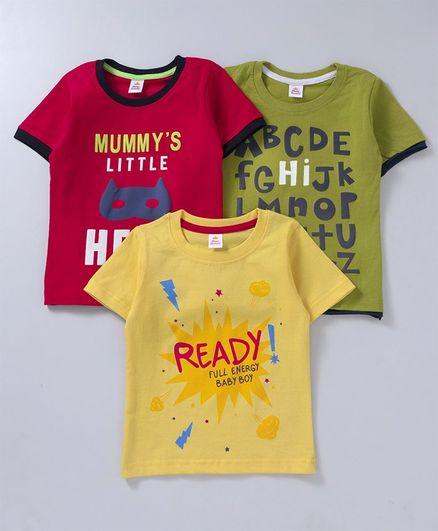 Mini Donuts Half Sleeves Tees Text Print Pack of 3 -  Red Green Yellow
