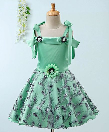 fb163645100 Buy Enfance Glitter Peacock Feather Half Sleeves Dress Green for ...