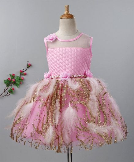 487b0c7e0e Buy Enfance Feathers Applique Glitter Sleeveless Dress Pink for Girls (2-3  Years) Online in India, Shop at FirstCry.com - 2678258