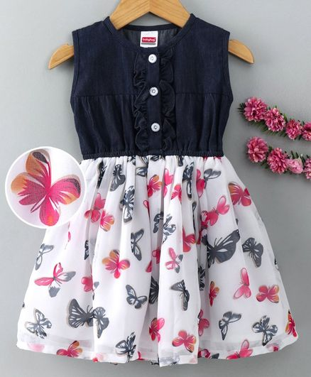 Babyhug Sleeveless Frock Butterfly Print - Navy Blue & White
