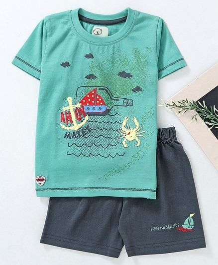Olio Kids Half Sleeves Tee & Shorts Ocean Print - Green