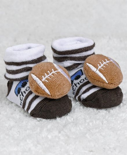 Cute Walk by Babyhug Ankle Length Sock Shoes Rugby Motif - Dark Brown