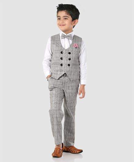 be6fef9f7b83c Buy Robo Fry 3 Piece Check Party Suit With Tie Grey White for Boys (4-5  Years) Online in India, Shop at FirstCry.com - 2683733
