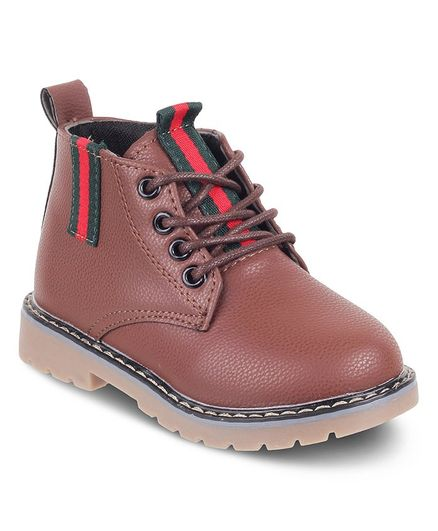 a67035e79a0f Buy Kittens Shoes High Ankle Tie Up Boots Brown for Boys (3-4 Years ...