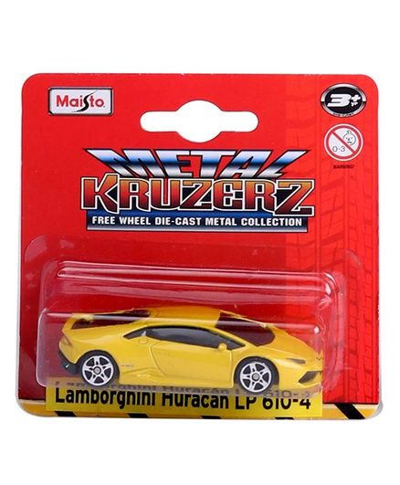 Maisto Metal Kruzerz Lamborghini Huracan Diecast Car Yellow For 3