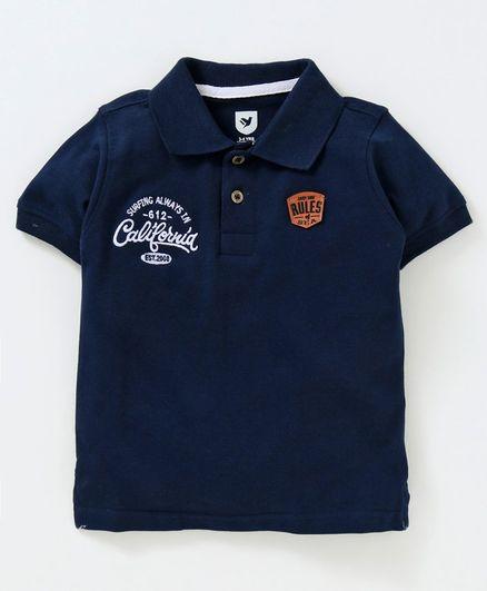 fd7201c12 Buy 612 League Printed Half Sleeves Polo Tee Navy Blue for Boys (3 ...