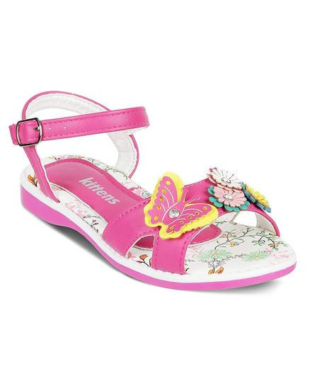 Kittens Shoes Butterfly Applique Sandals - Pink