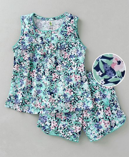 c04246c7c66 Buy Cucumber Sleeveless Top With Shorts Floral Print Green for Girls ...
