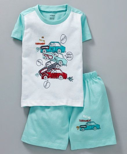 Cucumber Half Sleeves Tee With Shorts Car Tournament Print - Teal Blue