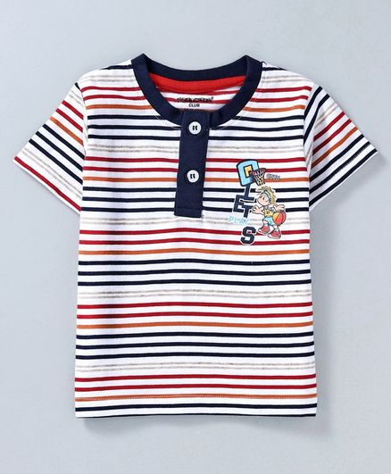 a946ef4f63 Buy Cucumber Half Sleeves Striped Tee Red White for Boys (6-12 ...