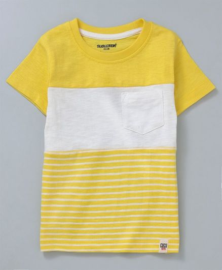 8eaeed639c Buy Cucumber Half Sleeves Tee Striped Yellow for Boys (12-18 ...