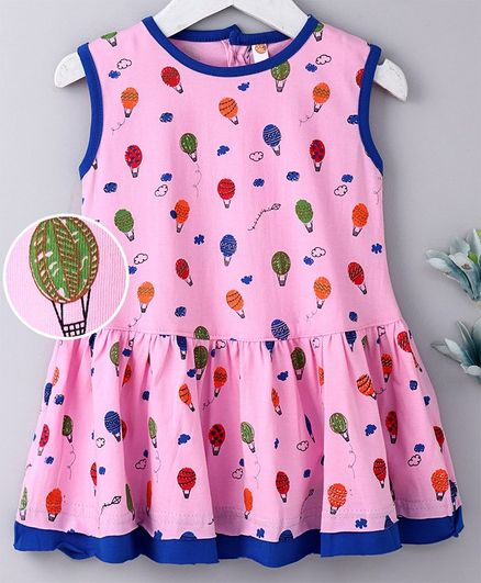 Dew Drops Sleeveless Frock Hot Air Balloon Print - Pink