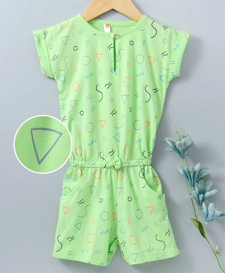 Dew Drops Short Sleeves Romper Geometric Shapes Print - Green
