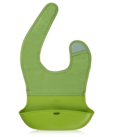 Kassy Pop Waterproof Silicone Bib With Crumb Catcher - Green