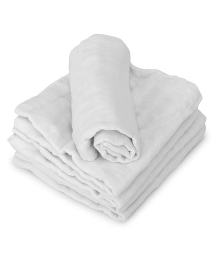 Kassy Pop 6 Layer Muslin Reusable Baby Wash Cloths White - Pack of 5
