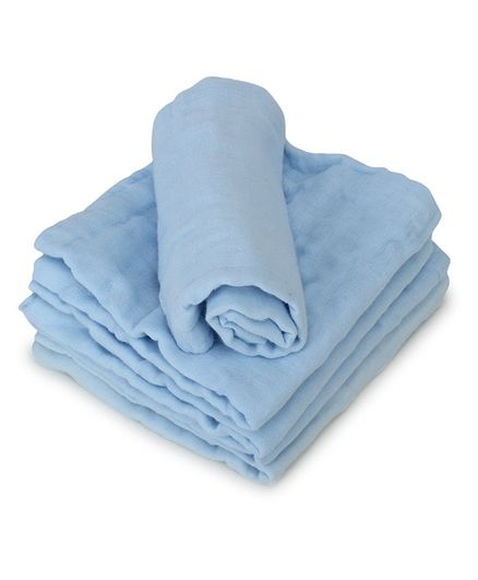 Kassy Pop 6 Layer Muslin Reusable Baby Wash Cloths Blue - Pack of 5