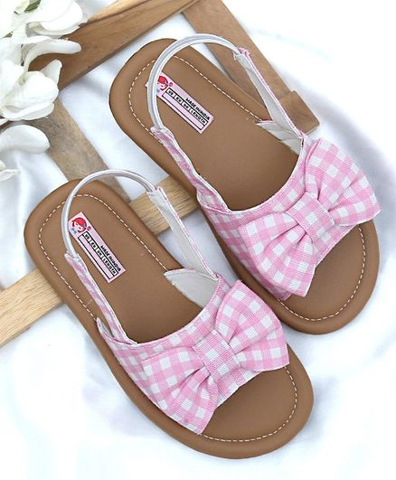 eba68be75 Buy DChica Checks Print Bow Design Sandals Pink for Girls (8-9 ...