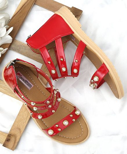 b6cd4de7ce6 Buy DChica Pearl Embellished Gladiator Sandals Red for Girls (4-4 ...