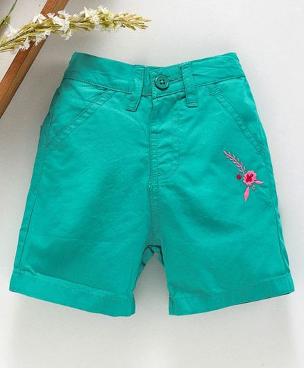 Babyhug Mid Thigh Length Solid Shorts Floral Embroidery - Sea Green