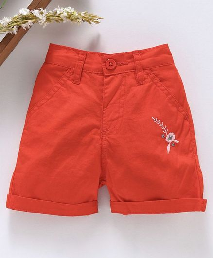 Babyhug Mid Thigh Length Solid Shorts Floral Embroidery - Coral