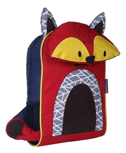 My Milestones Toddler Backpack Fox Design Red & Yellow - 14 Inches