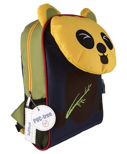 My Milestones Toddler Backpack Panda Design Navy & Yellow - 14 Inches