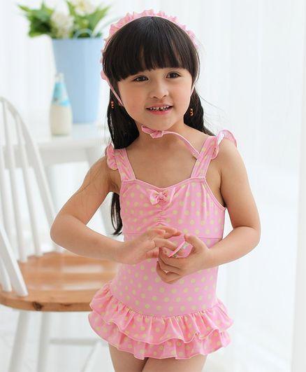 d59f07f3dcbc9 Buy Unicorns Polka Dot Print Sleeveless Ruffled Swimsuit With Cap ...