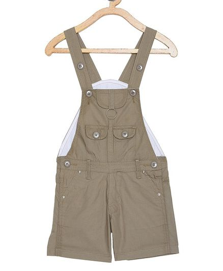 FirstClap Solid Short Length Dungaree With Front Pockets - Grey