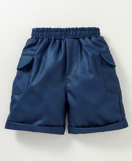 Knotty Kids Checked Shorts With Side Pockets - Dark Blue