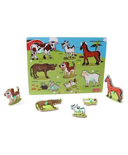 Babyhug Wooden Domestic Animals Puzzle Multicolour - 8 Pieces