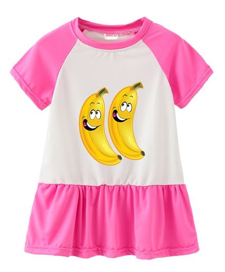 fb7bf3e86d1e0 Buy Awabox Half Sleeves Banana Print A Line Dress Dark Pink for Girls (3-4  Years) Online in India, Shop at FirstCry.com - 2698199
