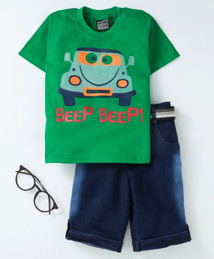 Rikidoos Half Sleeves Car Printed Tee With Shorts & Belt - Green
