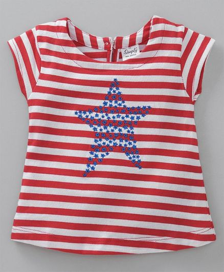 Simply Short Sleeves Striped Top Star Print - White Red