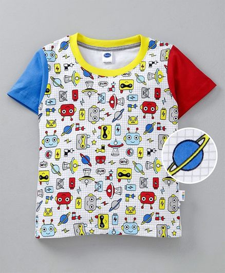 Teddy Half Sleeves Tee Robot Print - Multicolour
