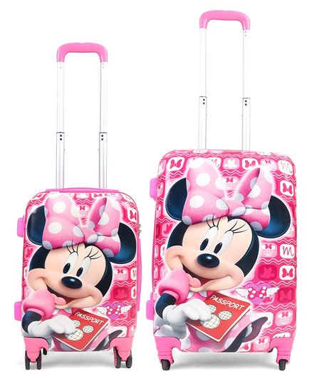 8e8d9fa7bdd4 Disney Minnie Mouse Kids Trolley Bags and Backpack Set of 2 Pink - 22   18  Inches