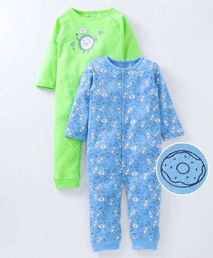 Babyoye Full Sleepsuit Multi Print Pack of 2 - Green Blue