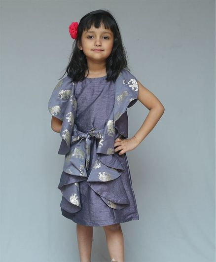 KIRTI AGARWAL PRET N COUTURE Elephant Print Half Sleeves Dress - Grey