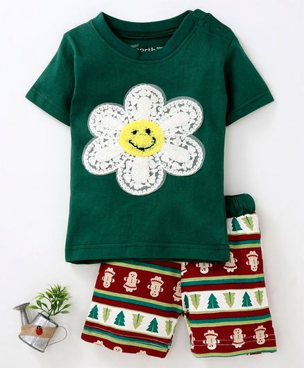 Earth Conscious Flower Embriodered Half Sleeves T-Shirt & Shorts Set  - Green & Red