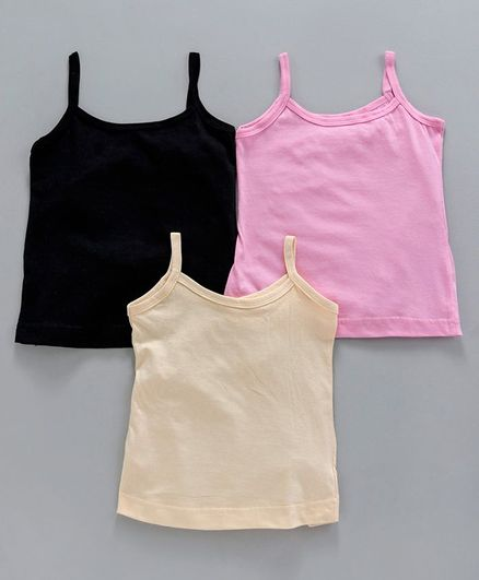 Red Rose Solid Singlet Slip Pack of 3 - Pink Black Cream