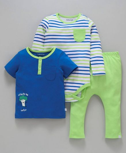Babyoye Half Sleeves Top Onesie & Full Length Bottoms Broccoli Print  - Green & Royal Blue