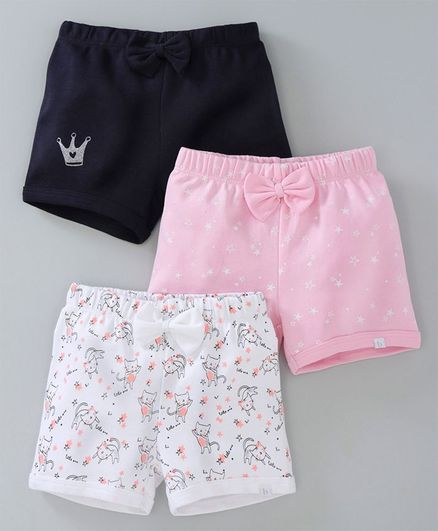 af3abca9ae Buy Babyoye Cotton Shorts Star Crown & Kitty Print Navy Pink for Girls ...