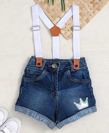 Little Kangaroos Denim Shorts With Suspender - Dark Blue White