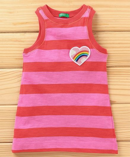 UCB Sleeveless Striped Frock Heart Patch - Red Pink