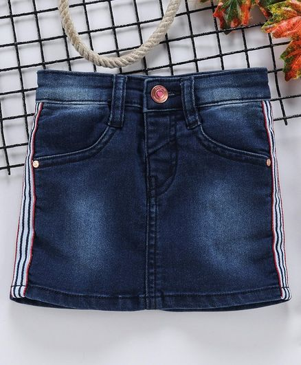 Babyhug Monkey Washed Denim Skirt - Dark Blue
