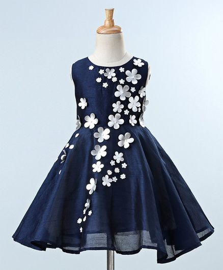 731daf40ac42 Buy A Little Fable Flowers Applique Sleeveless Dress Navy Blue for ...
