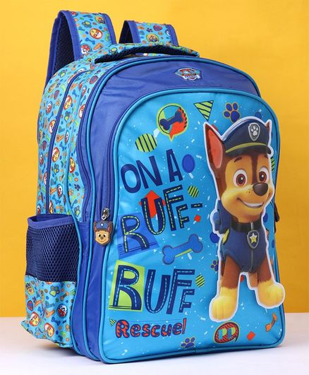 Paw Patrol School Bag With Velcro Blue - 16 Inches